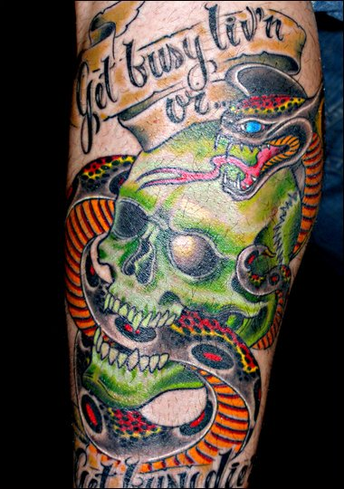 a skull and snake tattoo?
