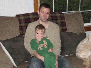 My nephew Evan and I Thanksgiving morning.  Love the bed head.  :)